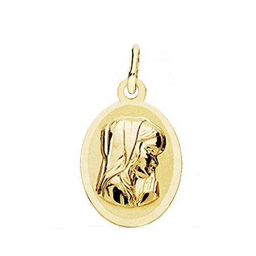 Medalla Oro 18K Virgen Niña Óvalo 19mm. [Ab3771Gr] - Personalizable - Grabación Incluida En El Precio