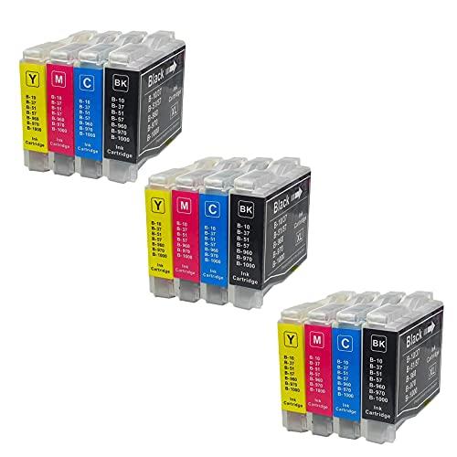 SXCD Cartuchos de tinta LC51 LC57 LC960 LC970 LC1000 LC10 LC37 para Brother MFC-265C 230C MFC-240C FAX-2480C 4 colores combinados x 3