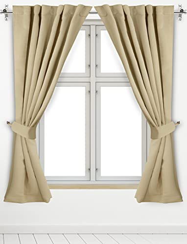 Utopia Bedding 2 Panels Rod Pocket Blackout Curtains with 2 Tie Backs W52 x L84 Inches, Thermal Insulated Window Draperies - 7 Back Loops per Panel, Biscotti Beige
