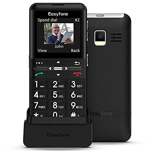 Easyfone Prime-A7 gsm Teléfono Móvil para Personas Mayores con Teclas Grandes, Botón SOS con GPS, Fácil de Usar Móviles para Ancianos con Base cargadora (Negro)