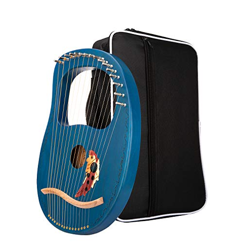 Lyre Harp 16 String with Carrying Case & Tuning Hammer,Best Gifts For Music Enthusiast Adult,Kids And Beginners