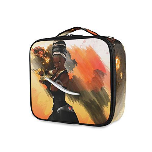 Voyage Art Noir Femmes Guerrier Trousse De Toilette Outils Cosmétique Train Case Maquillage Sac De Stockage Portable Filles