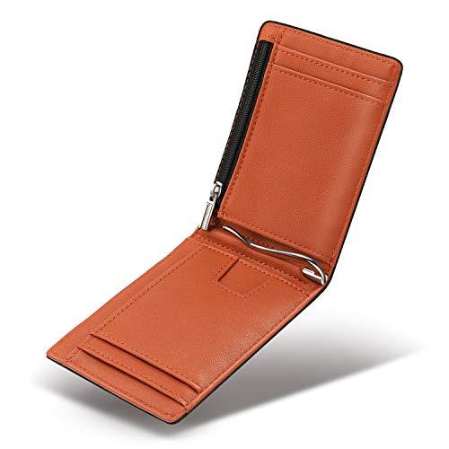 Vemingo Cartera para Hombre con Clip,Monedero con RFID Bloqueo para Tarjetas de Crédito Portamonedas Ligeros para Hombre/Adolescente,Negro y Naranja