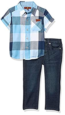 7 For All Mankind Baby Boys Sport Shirt and Denim Short Set, Oversized Blue Check/Dark Wash, 24M