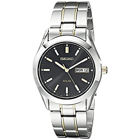 Fashion Shopping Seiko Men's SNE047 Two-Tone Solar Black Dial Watch