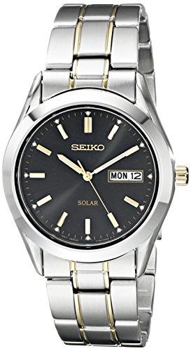 Seiko Men's SNE047 Two-Tone Solar Black Dial Watch