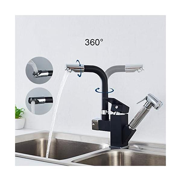 Auralum – Grifo Negro para Fregadero Cocina Mezclador Monomando con 360° Giratorio