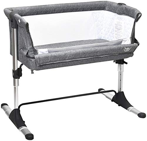 COSTWAY Bedside Sleeping Crib, Height Adjustable Breathable Mesh Window Baby Play Pen for Newborn Toddler, Folding Bassinet Side Sleeper Travel Cot with Washable Mattress and Storage Bag (Grey)