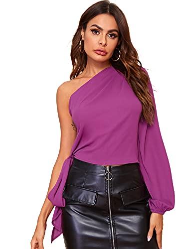 Milumia Blusa sexy de gasa con un solo hombro para mujer, manga larga, nudo sólido, blusa de gasa, Púrpura/Ombre Force., XL