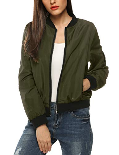 Zeagoo Womens Classic Quilted Jacket Short Bomber Jacket Coat, # Army Green, Small