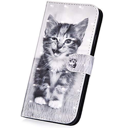 Surakey Cover Compatibile con Samsung Galaxy J3 2016 Flip Libro Portafoglio Pelle Case 3D Pittura Creativa con Funzione Supporto e Porte Carte Chiusura Magnetica Pieghevole Anti-Scratch Custodia,Gatto