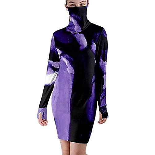 qishi Damen Lose Langarm Bluse Top Kleid Rundhals Top Gr. Small, violett