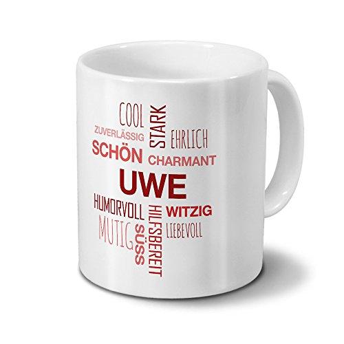 Tasse mit Namen Uwe Positive Eigenschaften Tagcloud - Rot - Namenstasse, Kaffeebecher, Mug, Becher, Kaffeetasse