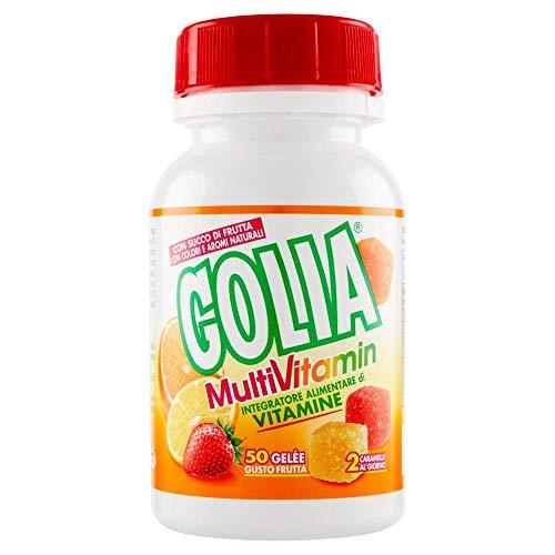 Golia Multivitamin, Integratore Alimentare di Vitamine, Caramelle Gelèe Gusti Fragola, Limone e Arancia, Barattolo da 50 Caramelle Gelèe Multivitaminiche con Succo di Frutta e Senza Glutine, 150 gr