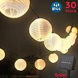 LED Außenlichterkette | Akkubetrieben über Solarpanel | Solar 6 Meter 30 LEDs Lampions Laterne Solarbetrieben Lichterkette Wasserfest Balkonbeleuchtung Dekoration für Garten | Terrasse