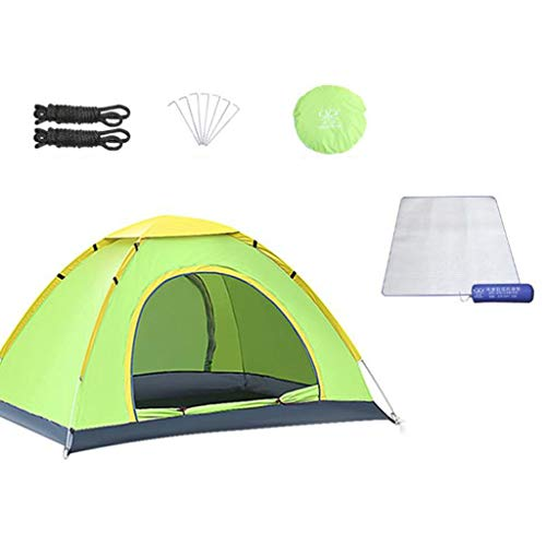 JLFSDB Outdoor Camping Tent Family Instant Tent Travel Cabin Tent Double Door Design with Moisture-proof Pad and Accessories (Color : Green, Size : 2 people)