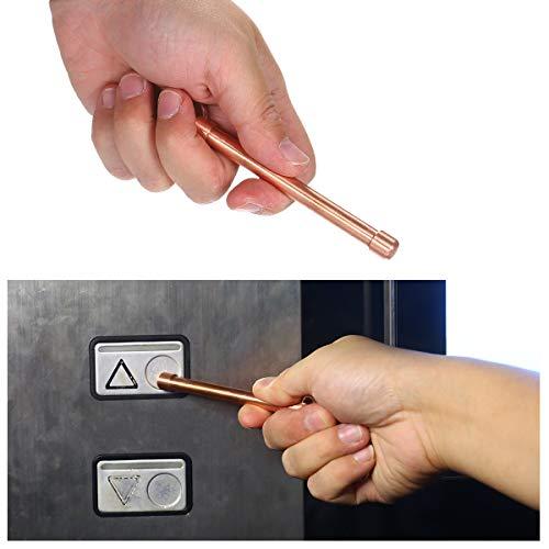 KKmoon - Bastón de cobre antimicrobiano puro, alternativa para abrir puertas en lugares públicos, botones del ascensor