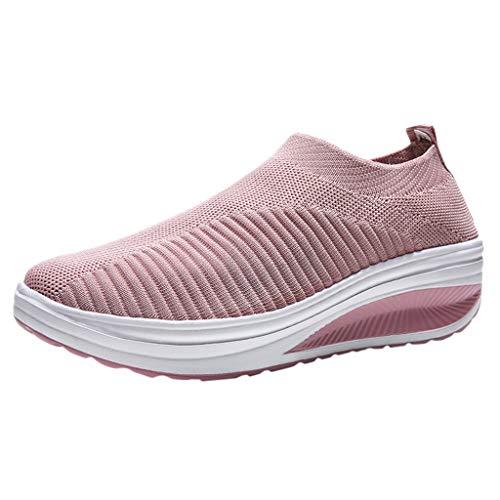 Fenverk Damen Sportschuhe Laufschuhe Sneaker Atmungsaktiv Leichte Wanderschuhe Bequem SchnüRer Gym Fitness Turnschuhe Slip On Outdoor Leichtgewichts Freizeit Atmungsaktive Schuhe (Rosa,40 EU)
