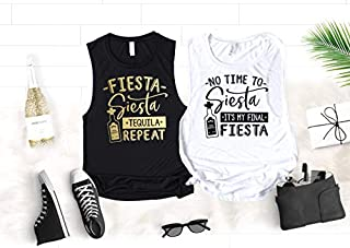 Fiesta Bachelorette Party Shirts, Funny Cinco de Mayo Muscle Tanks for Bride and Bridesmaids, No Time to Siesta It's My Final Fiesta and Fiesta Siesta Tequila Repeat Shirts with Foil Graphics
