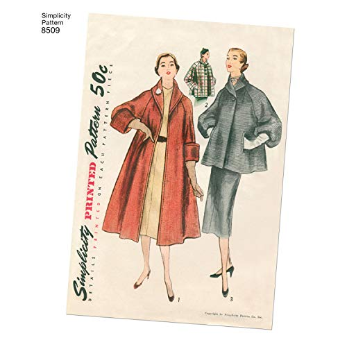 Simplicity US8509H6 US8509H5 Schnittmuster 8509 H5 (34–38–40), Vintage-Mantel oder Jacke für Damen, Papier, weiß, 22 x 15 x 1 cm