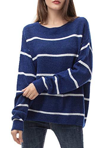 Jersey Mujer Punto Camiseta Manga Larga Sueter Invierno Jersey Rayas Basico Suelto...