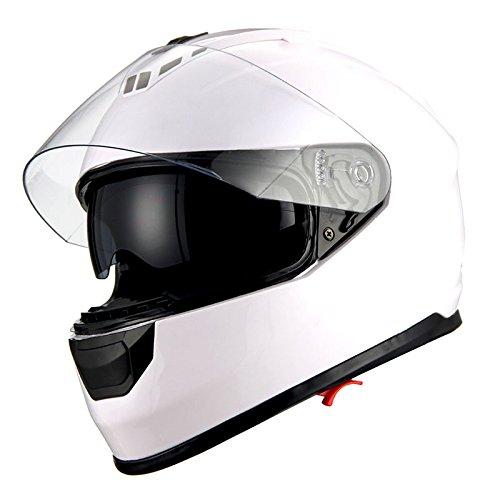 1Storm Motorcycle Full Face Helmet Dual Lens/Sun Visor Glossy White