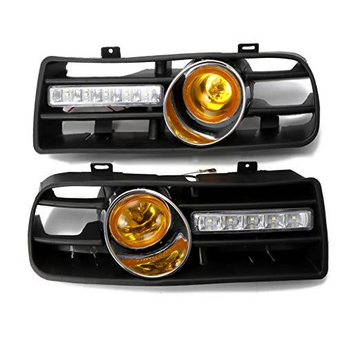 Weishazi 1 Paar Stoßstangengitter vorne unten mit LED Nebelscheinwerfer & Tagfahrlicht für VW Golf MK4 gelb