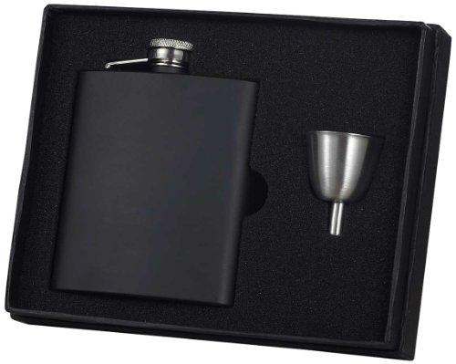 "Visol ""Raven"" Stainless Steel Flask Gift Set, 8-Ounce, Black"