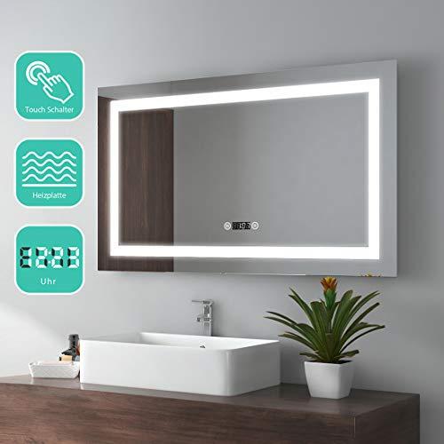 EMKE 100x60cm LED Badspiegel Wandspiegel Beleuchtung Badezimmerspiegel mit Touchschalter, Beschlagfrei, Uhr