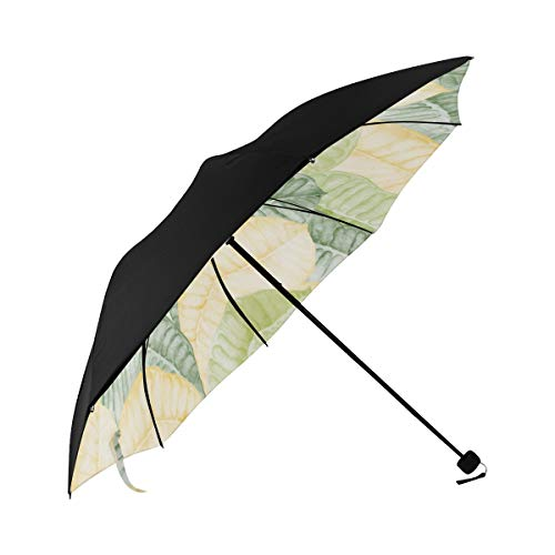 Best Compact Umbrella Green Yellow Art Of Vintage Leaves Underside Printing Sun Umbrella Stroller Compact Umbrella Uv Protection Windproof Compact Umbrella With 95% Uv Protection For Women Men