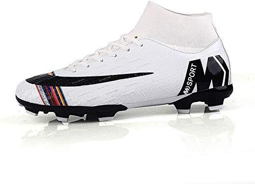 Lloow Unisex Fußballschuhe, Fußballschuhe hohe Socken Pflege Stiefeletten Fußball-Schuhe mit Schnürsenkeln Trainingsschuhe 2020,Weiß,44