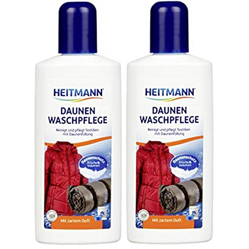 Heitmann Daunen Wäsche: reinigt und pflegt Textilien mit Daunenfüllung, für Frische und Volumen mit zartem Duft, ideal für die schonende Reinigung von Daunen-Jacken, Federkissen, Federbetten, 2x250ml