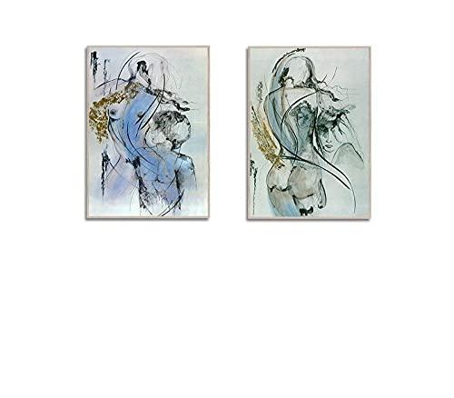 RLJHG Abstrait Sexy Toile Tableau Peintures Femme Et Homme...