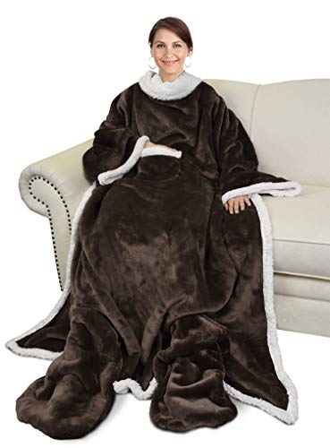 Catalonia Sherpa Wearable Blanket with Sleeves & Foot Pockets for Adult Women Men,Comfy Snuggle Wrap Sleeved Throw Blanket Robe,Gift Idea,Grey