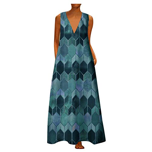 Beladla Harajuku - Falda larga para mujer, cuello en V, estilo gótico, estampado prismático, a la moda, elegante, sin mangas, dobladillo grande, con bolsillos, falda larga para playa o noche, azul, M