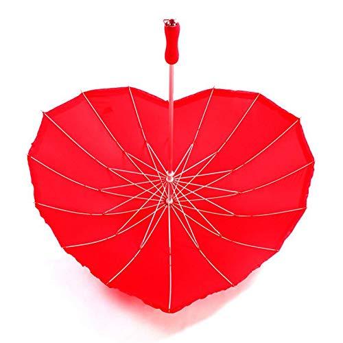 Paraguas creativo en forma de corazón para adultos, regalo de boda, color rojo sólido, resistente al viento, resistente al viento para hombres y mujeres (color rojo)
