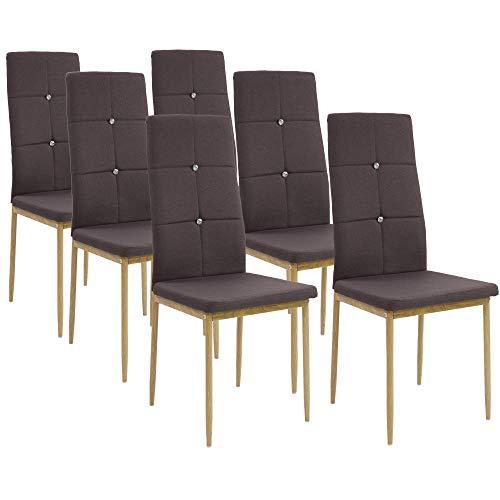 Albatros Esszimmerstühle Crystal 6-er Set Espresso/Braun, Stoffbezug, Bequem & Ergonomisch geformte Lehne, Küchenstühle