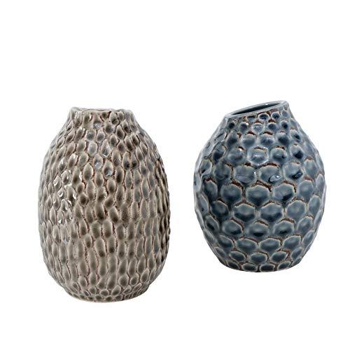 CasaJame 2 x Macetas de Interior y Exterior - Jarrones de Cerámica para Plantas - Jardineras de Porcelana con Estructura en Relieve - Terracota Azul Beige Altura 14cm, Ø 11cm