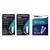 TRUE Metrix Blood Glucose Test Strips(100 Count) with 100 TRUEplus Sterile Lancets 28 Gauge