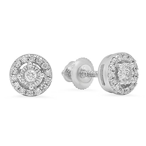 Dazzlingrock Collection 0.20 Carat (ctw) 10K Round White Diamond Ladies Cluster Halo Style Stud Earrings 1/5 CT, White Gold