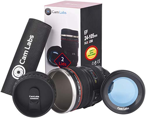 CamLabs Camera Lens Coffee Mug - 2 LIDS + GIFT BAG, Stainless Steel Thermos, Sealed CLEAR Canon Lens Replica & Retractable Lids, Photographer Camera Mug, Travel Coffee Cup, Gift Mugs for Men, Women