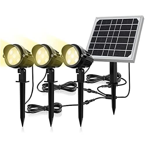 MEIKEE 15 LED 3 in 1 Faretti solari, Faretto da giardino solare IP66 impermeabile, Lampade solari a LED per esterni regolabili, Faretto da giardino a LED per giardino, Prato, Muro, Bianco caldo, 3000K