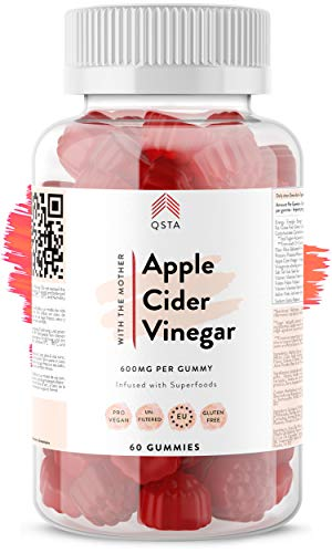 Raw Apple Cider Vinegar Gummies 1200MG (30 Days) + 100% Natural & NO Sugar (0.3grams) - Unfiltered ACV + Vegan (Pectin) + B6 + B12 + B9 - Keto Diet, Metabolism Booster & Detox +Doctors