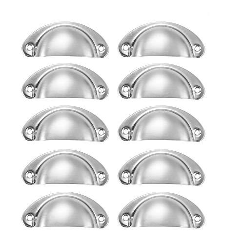 10 maniglie per cassetti da 82 x 35 mm, stile vintage antico per armadietti, maniglie per mobili da cucina, adatte per cassettiere, porte (bianco cromo)