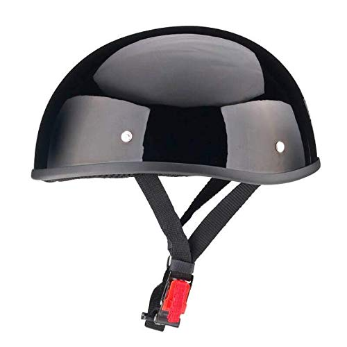 WCL Beanie Motorcycle Half Helmet - Small and Light DOT Approved Skull Cap (Large, Gloss Black)