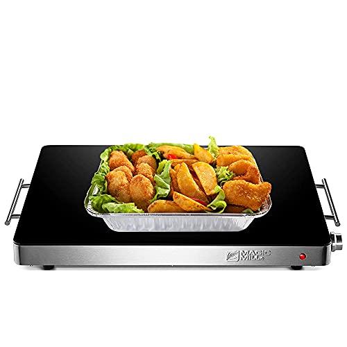 Magic Mill - Bandeja de calentamiento de alimentos extra grande   Placa eléctrica para servidor caliente, con control de temperatura...