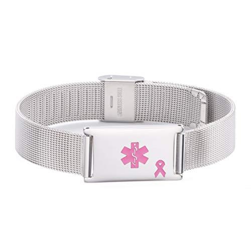 linnalove Lymphedema Alert Bracelets No Needle or BP Bracelets Adjustable Stainless Steel Mesh Medical id Bracelets for Women