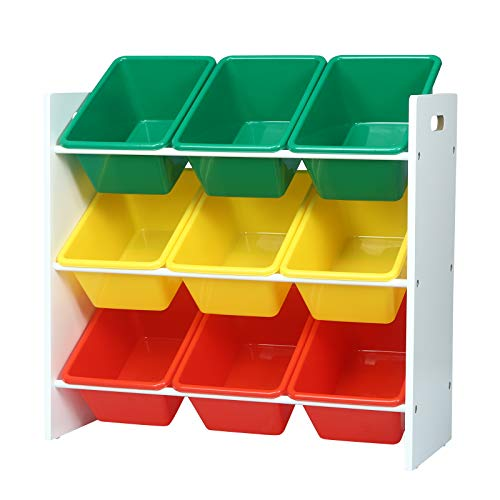 WOLTU Scaffale Portagiochi per Bambini Mensola Porta Giocattoli con 9 Contenitori di Plastica Mobile Portaoggetti per Cameretta MDF Multicolore SPK007