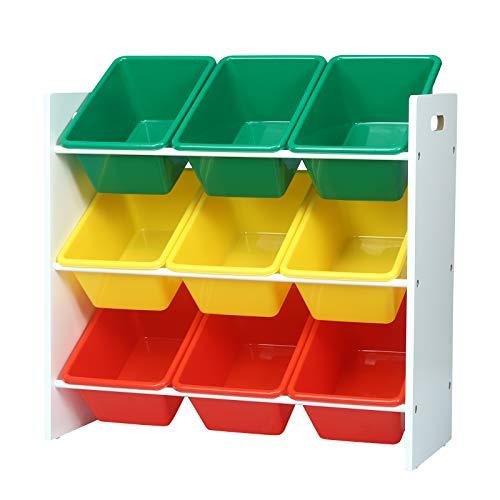 WOLTU Kinder Aufbewahrungsregal Spielzeug- und Bücherregal Spielzeugkiste Kinderkommode Kindermöbel 9 Kisten Mehrfarbig SPK007