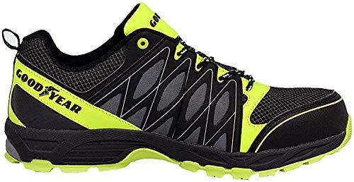 GOODYEAR 1503edizione speciale S1P–SRA–Scarpe di sicurezza/scarpe da lavoro/senza metallo., Nero (Nero/Verde fluo), 42 EU